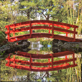 Red Bridge Reflection by John Goldenne - Instagram & Mobile iPhone ( red bridge, iphoneography, reflection, iphoto edited, edit )