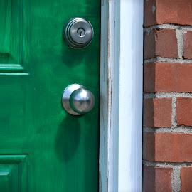 Green Door by Alexandra Williams - Buildings & Architecture Architectural Detail ( urban, brick, door, architecture, knob )