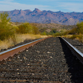 over the mountain by Dustin Wilcox - Novices Only Landscapes ( railroad, raildroad racks )