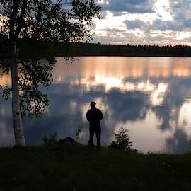SOLITUDE by Gary Colwell - Landscapes Sunsets & Sunrises ( sunset, new brunswick, lake, fishing,  )