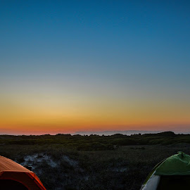 Camp by Lauren N. - Landscapes Travel ( camp, sky, grass, sunset, outdoors, tent, travel, landscape, outside )