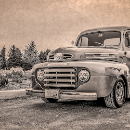 Vintage Ford Pickup by Jack Brittain - Transportation Automobiles ( car, monochrome, pickup, canada, truck, vintage, texture, ajax, ontario, antique )