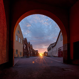 V a l v e by Manu Heiskanen - Uncategorized All Uncategorized ( clouds, sunset, cityscape, valv, evening, wall, sun, paulinawolekpardon, tunnel )