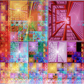 Windows and Ladders by Peggi Wolfe - Illustration Abstract & Patterns ( ladder, abstract, wolfepaw, gift, unique, bright, illustration, fun, digital, print, décor, window, pattern, color, unusual, fractal )