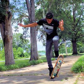 by Kristy Shamburg - Sports & Fitness Skateboarding ( skateboarding, sports, boarding, air, fun, skateboard )