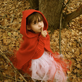 by Lori Lei Herr - Babies & Children Children Candids ( expression, red riding hood, fairy tale, story book, children, forest, hazel eyes, quiet, brown hair, leaves, halloween, child, story, girl, red, autumn, fall, costume, trees )