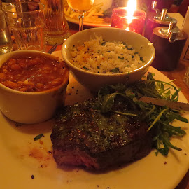 A Cornish Steak by Angie Keverne - Food & Drink Plated Food ( steak, candle, rice, beans, food, beef, plate, launceston, firebrand, cornwall, meal )