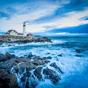 Thanksgiving Morn by Tom Whitney - Landscapes Travel ( maine, blue hour, rocky, lighthouse, portland head light, thanksgiving, places, storm, usa, coast, north america, verified, dark, portland head, rugged )