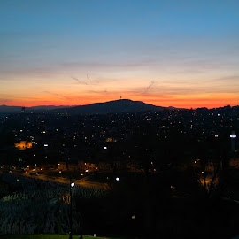 City sunset by Ahmed Halilovic - City,  Street & Park  Skylines ( mountains, sunset, cityscape, sun, city )