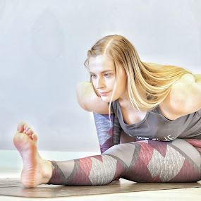 Toenail Srare-out by Ben Rohleder - Sports & Fitness Fitness ( blonde, girl, stretch, yoga )