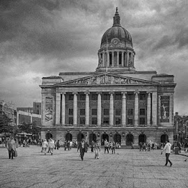 Town Hall by Pravine Chester - Black & White Buildings & Architecture ( town hall, monochrome, black and white, building, architecture )