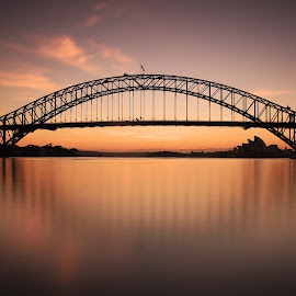 Sydney Sunrise by Ursula Rodgers - Buildings & Architecture Bridges & Suspended Structures ( water, harbour bridge, sydney harbour bridge, australia, long exposure, nsw, new south wales, sunrise, sydney )