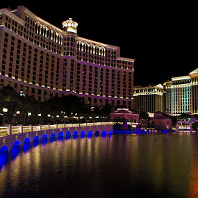 Bellagio Lights by Brent Huntley - Buildings & Architecture Office Buildings & Hotels ( mood-lites, brentsfavoritephotos.blogspot.com, moods, colorful, 18-270, awareness, travel, landscape, charity, tamron, photography, lights, autism, serenity, long exposure, nikon, light, bellagio, d3100, mood, bulbs, april 2nd, las vegas, lighting, color, blue, nevada, night, factory, liub, mood factory )
