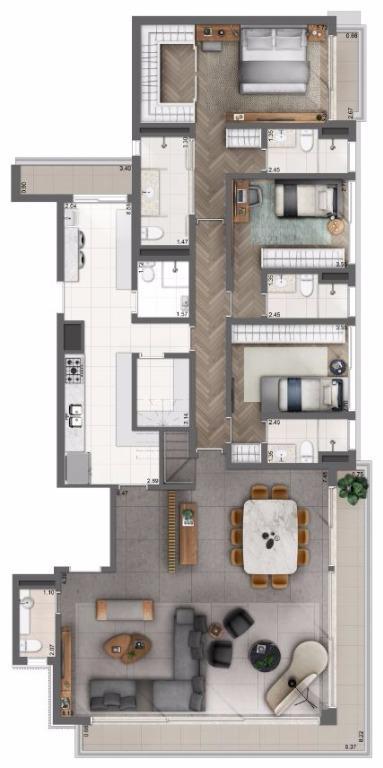 Cobertura Opção Living Ampliado - Pav Inferior - 365 m²