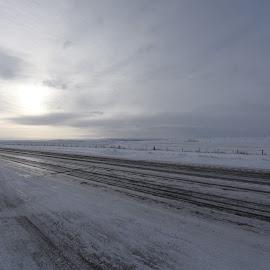 Alberta Hwy #3 by John Wayne Robert Jansen - Landscapes Weather ( cold, ice, snow, travel, road )