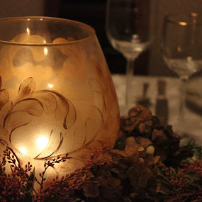 Romantic scene by Kaleb Kimmelman - Artistic Objects Glass ( center, candle, romance, piece )