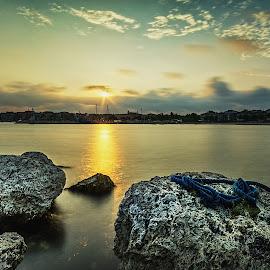 Sunset in Turkey by Romano Alberto Basso - Landscapes Sunsets & Sunrises ( sunset, seascape, istanbul, turkey, rocks )