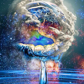 All in one drop by Josiah Hill-meyer - Digital Art Abstract ( clouds, water, life, nature, original, earth, space, light )