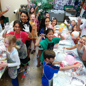 Making paper-mache 'hot air balloons' during Sculpture Camp