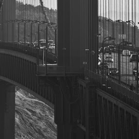 going to frisco bay by Paolo Tangari - Buildings & Architecture Bridges & Suspended Structures ( cars, black & white, golden gate, bridge, san francisco )