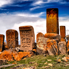 khachkars cross stones by Stanley P. - Buildings & Architecture Other Exteriors ( scanning, khachkars cross stones, architecture, diapositive )