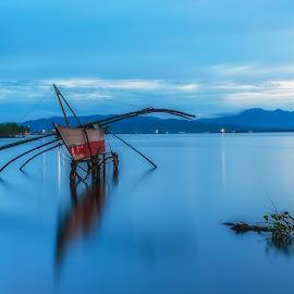 the boat by Sanjoy Sengupta - Landscapes Waterscapes ( sea scape, nikon d700, fishermen, nikon nikon mea, blue hour, long exposure, boat,  )