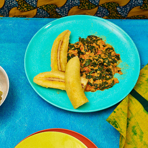 Ghanaian Spinach Stew With Sweet Plantains