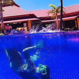 The big splash  by Hayley Moortele - Sports & Fitness Swimming ( #bubbles, #bluewater, #splash, #swimming, #diving, #pools, #landandwater, #underwater )