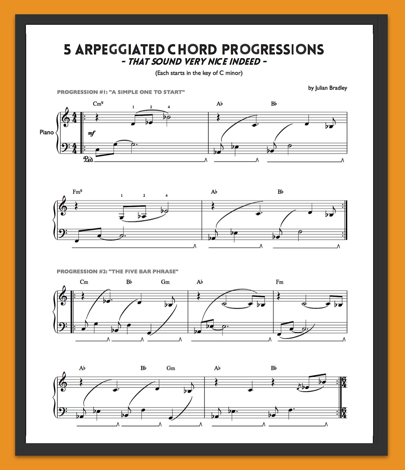 7 chord progressions sheet music 5 sweet arpeggiated chord progressions hexwebz Gallery