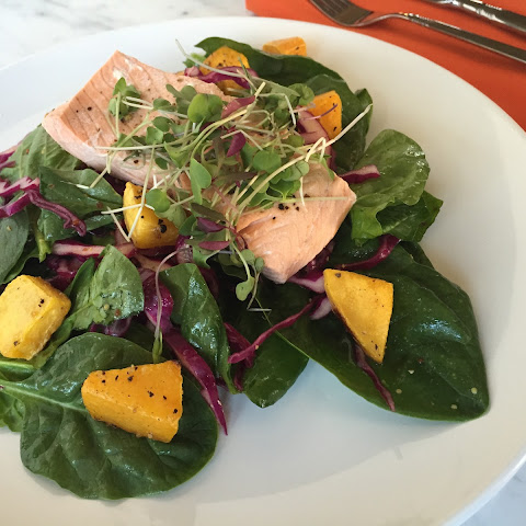 Salmon with Spinach and Roasted Butternut Squash