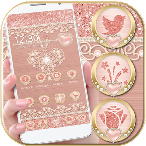 Rose Gold Launcher Diamond Heart Theme For PC