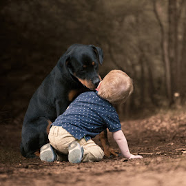 Kissing you! by Hilda Palm - Babies & Children Children Candids ( child, care, lovely, forest, dog )