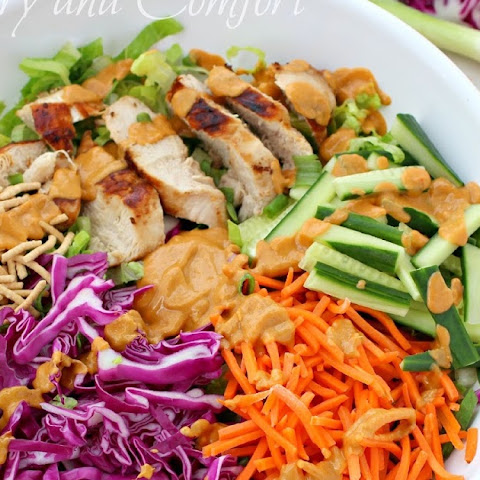 Asian Grilled Chicken Salad with Spicy Peanut Dressing
