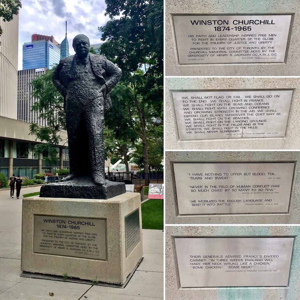 This statue of Sir Winston Churchill stands outside of Toronto City Hall. According to The Churchill Society for the Advancement of Parliamentary Democracy, the statue of the prime minister of the ...