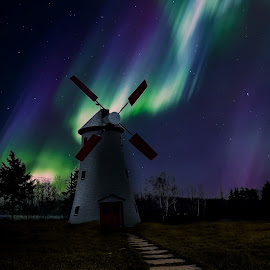 the wind mill  by Gigi Kent - Instagram & Mobile iPhone ( wind mill night, north lights )