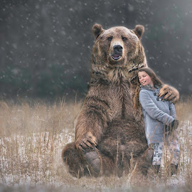 Friendship by Cherry Matott - Digital Art Animals ( grizzly, natural light, girl, snow, conceptual )