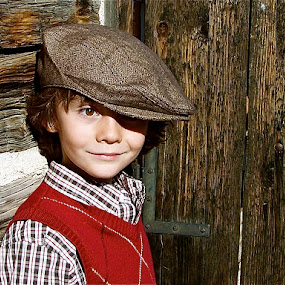 by Lori Lei Herr - Babies & Children Children Candids ( wood, cap, door, children, brown hair, hat, child, farm, brown eyes, newsboy cap, red, barn, color, autumn, fall, brown, boy, natural )