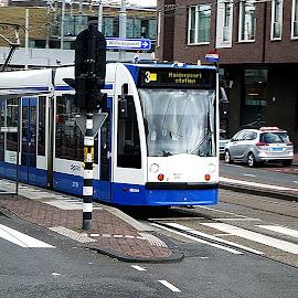 Amsterdam Streetcar 2015 by Dee Haun - Transportation Trains ( blue, 2015, white, amsterdam, street scene, transportation, netherlands, streetcar )
