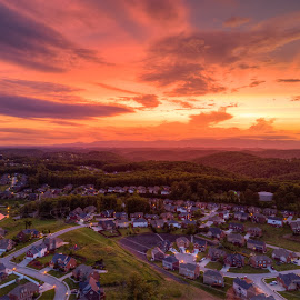Sunset from above by R Jay Prusik - Landscapes Sunsets & Sunrises