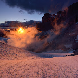 Sunset in red by Lucian Constantin - Landscapes Mountains & Hills ( mountains, red, fog, majestic, sunset, snow, dolomites )