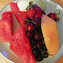 Fruit Platter by Sandy Stevens Krassinger - Food & Drink Plated Food ( fruit, cantaloupe, grapes, food, strawberries, honey dew melon, plated food, watermelon )