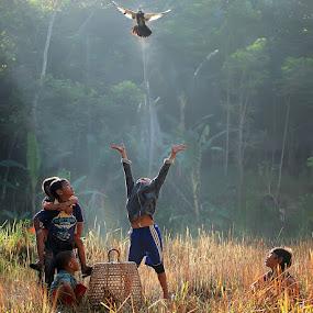 release birds into the wild by Adhii Motorku - Babies & Children Children Candids ( kids playing in summer )