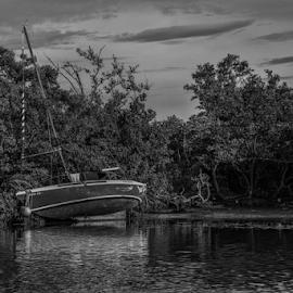 Grounded by Joe Saladino - Black & White Landscapes ( sailboat, monochrome, grounded, abandoned, boat )