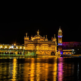 Golden temple by night by Hariharan Venkatakrishnan - City,  Street & Park  Night (  )