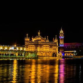 Golden temple by night by Hariharan Venkatakrishnan - City,  Street & Park  Night
