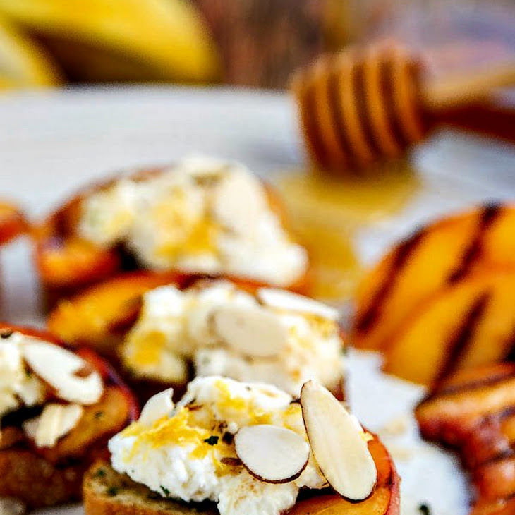 Bruschetta with Peaches, Lemon Ricotta and Honey Recipe | Yummly