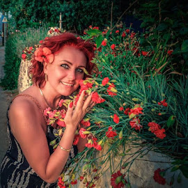 My flowers by Alexandru Tache - People Portraits of Women ( love, woman, smile, nikon, beautiful, greece, model, lovely, red hair, flowers, smiling, natural, nature, sexy, portrait, people, red flower, morning, orange, light, beach, detail, travel, photography, landscape )