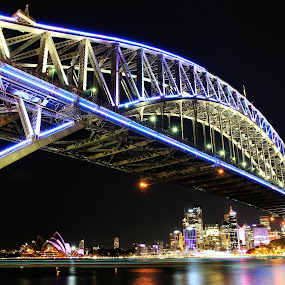 Lights Camera Action by Ajay Sharma - Buildings & Architecture Bridges & Suspended Structures ( water, lights, vivid, harbour, bridge, pwcarcreflections-dq, sydney )