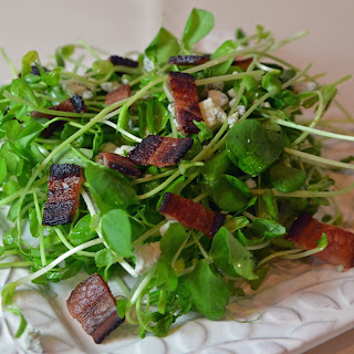 Pea Shoot Salad with Crispy Bacon and Blue Cheese