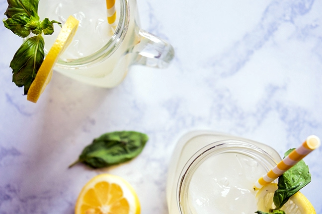 Honey-Sweetened Basil Lemonade